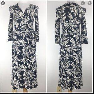 Cabi Midi Belted Wrap Dress Fern Navy White 496 M